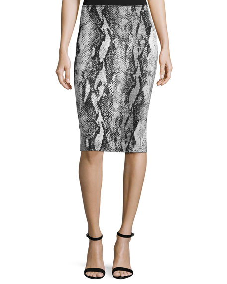 Raja Snakeskin Knit Pencil Skirt, Snake