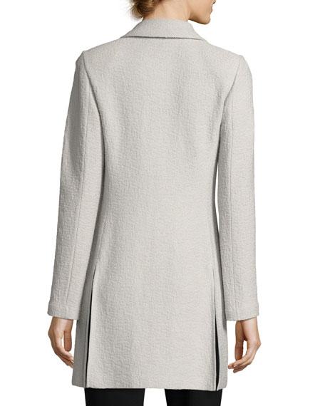 Clair Knit Skinny-Lapel Jacket, Light Gray