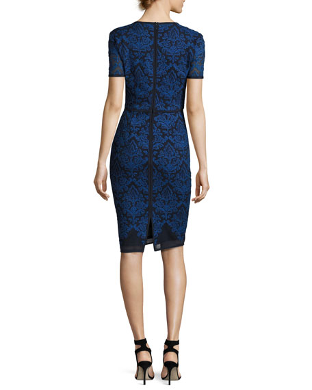 Kamala Embroidered Mesh Pencil Dress, Navy