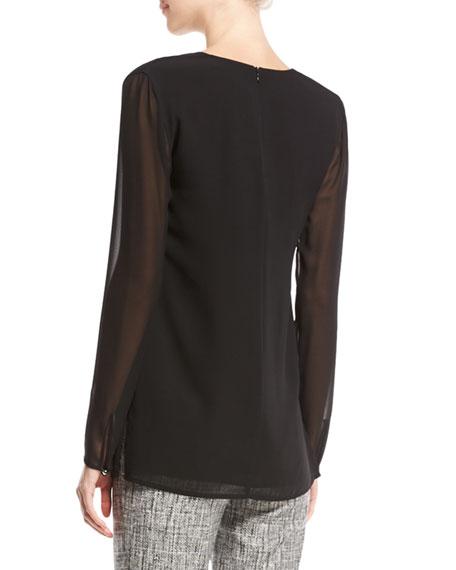 Silk Asymmetric-Ruffle Blouse, Black