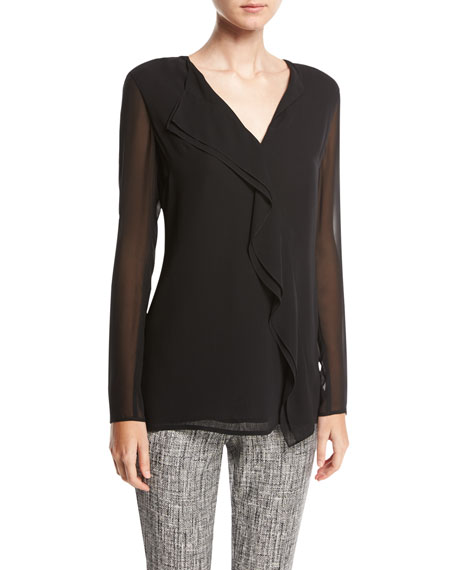 St. John Collection Silk Asymmetric-Ruffle Blouse, Black