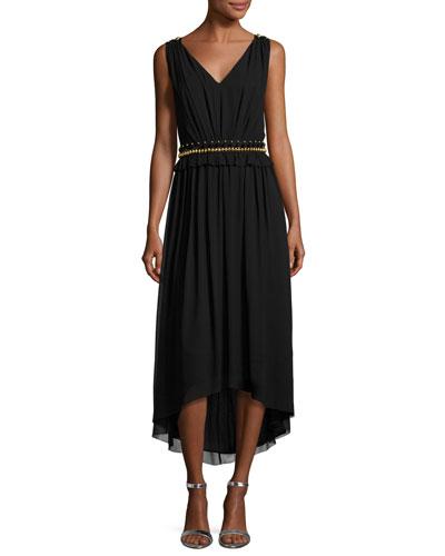 Crinkled Georgette V-Neck Picot-Edge Dress, Black