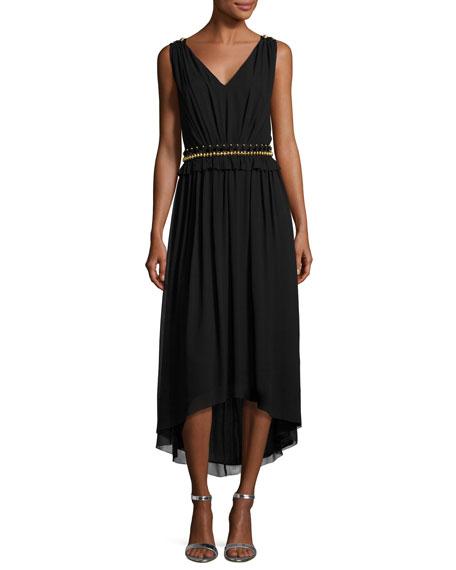 St. John Collection Crinkled Georgette V-Neck Picot-Edge Dress,