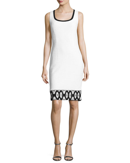 Sara Sleeveless Lace-Trim Sheath Dress, White/Black
