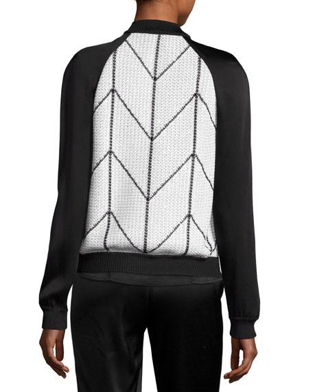 Prisha Geometric Knit Bomber Jacket, White/Black