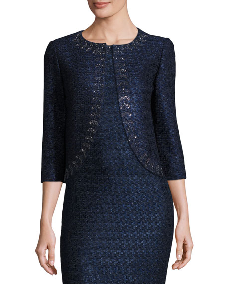 St. John Collection Jiya Sparkly Knit 3/4-Sleeve Jacket,