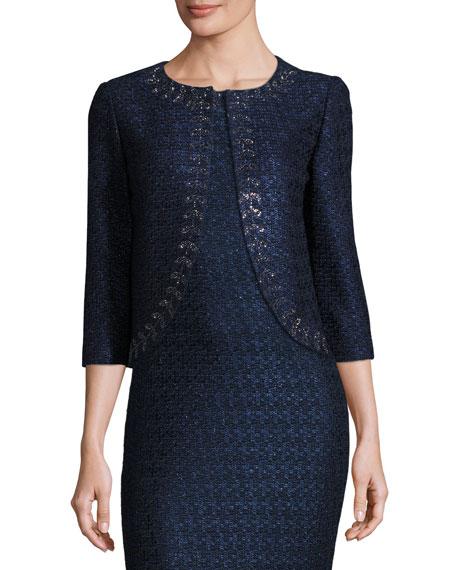 Jiya Sparkly Knit 3/4-Sleeve Jacket, Navy