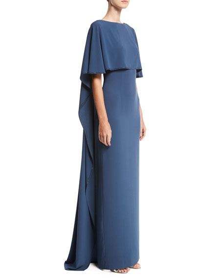 St. John Collection Lightweight Satin Cape Gown, Navy