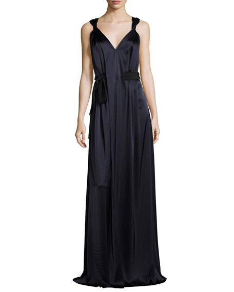 St. John Collection Liquid Satin V-Neck Gown with
