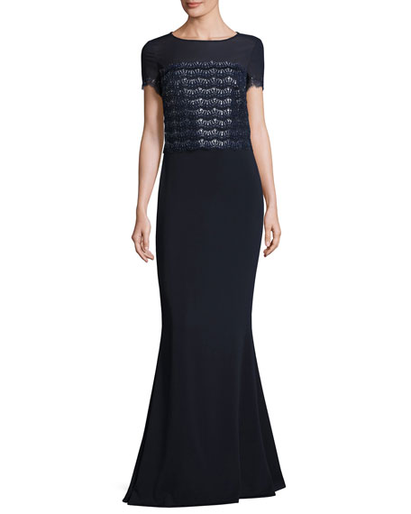 Sparkling-Scalloped Short-Sleeve Gown, Navy