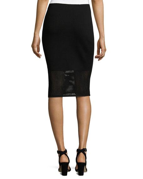 Technical Mesh Knit Pencil Skirt, Black