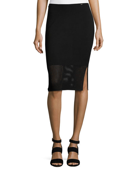 Technical Mesh Knit Pencil Skirt, Black