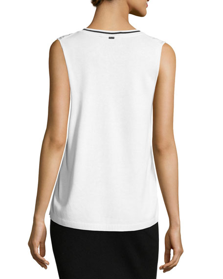 Crepe-Front Jewel-Neck Jersey Shell, White