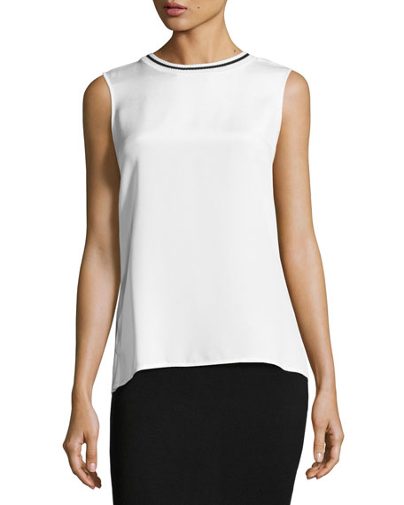 St. John Collection Crepe-Front Jewel-Neck Jersey Shell, White
