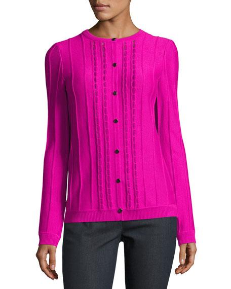 Ottoman Stitch Jewel-Neck Cardigan, Pink