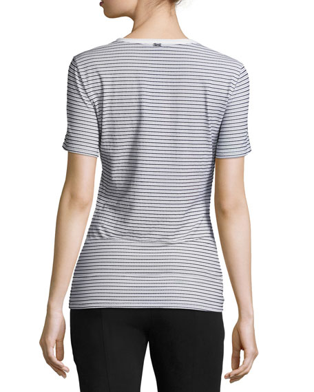 Mesh-Stripe Lace-Up Tee, White/Black