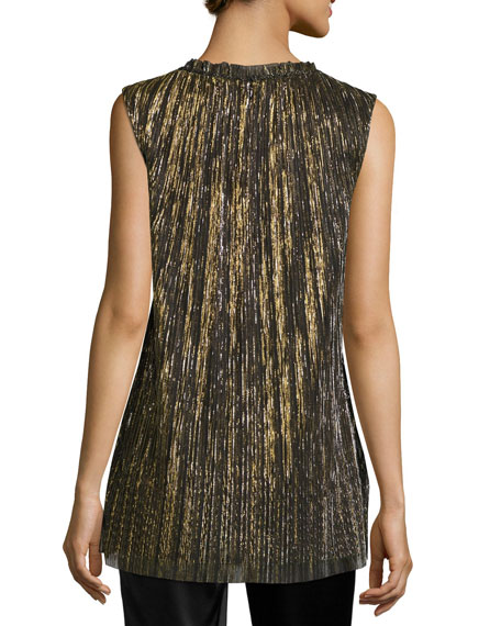 Metallic Plissé V-Neck Shell, Black/Gold