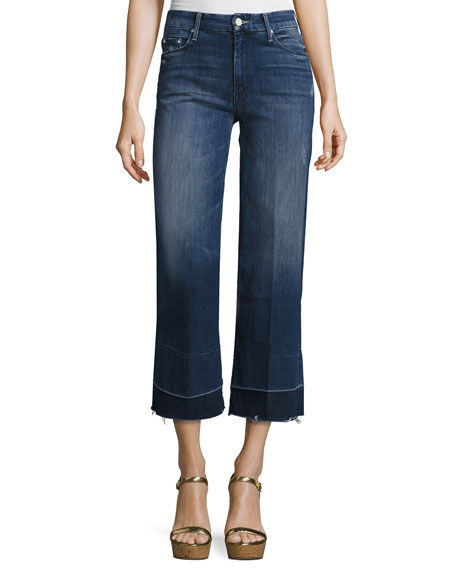 Mother Denim Roller Crop Undone Jean with Wide