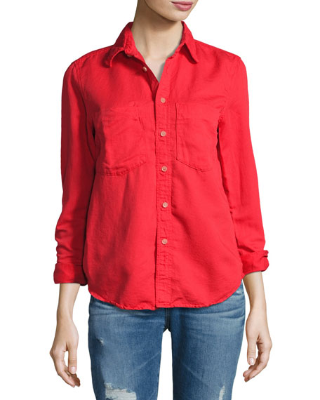 Mother Denim Double Foxy Button-Front Shirt, Spice (Red)