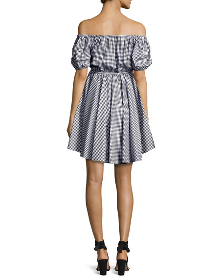 Gingham Off-the-Shoulder Bardot Dress, Navy/White