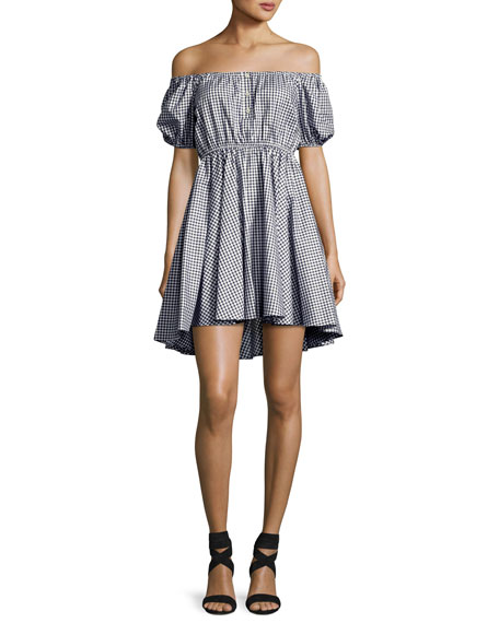 Caroline Constas Gingham Off-the-Shoulder Bardot Dress, Navy/White