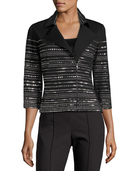St. John Collection Milano Knit 3/4-Sleeve Moto Jacket