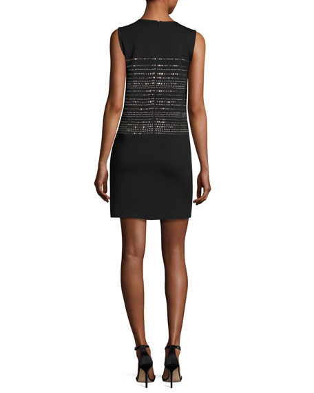 Sequined Milano Knit Shift Dress, Black
