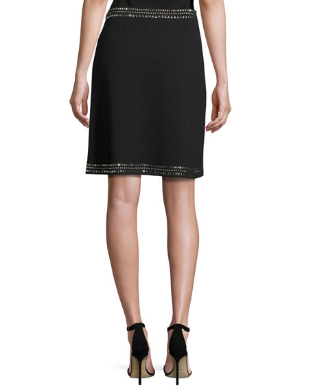 Sequined Milano Knit A-line Mini Skirt, Black