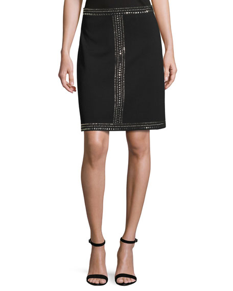 St. John Collection Sequined Milano Knit A-line Mini