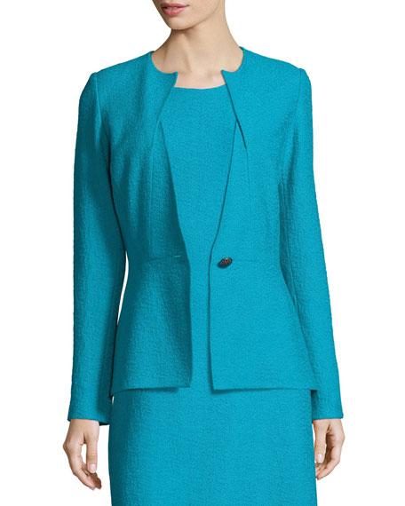 Clair Knit Peplum Jacket, Blue