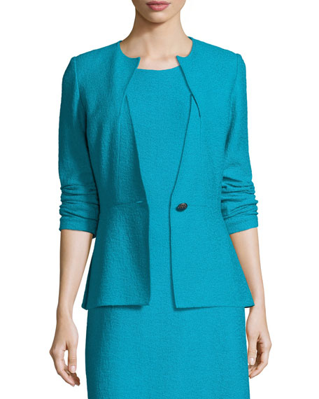 St. John Collection Clair Knit Peplum Jacket, Blue