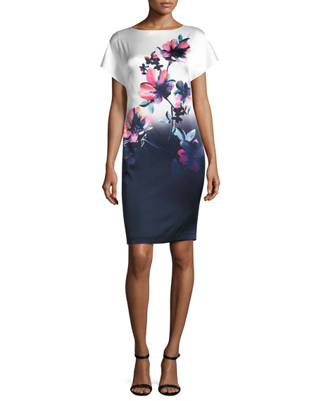 Ombre Naveena Floral-Print Sheath Dress, White/Multi