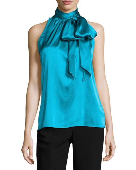 Charmeuse Halter Necktie Top, Teal Blue