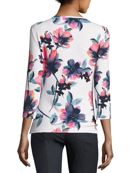 Naveena Floral Print Jersey 3/4-Sleeve Top, White/Multi