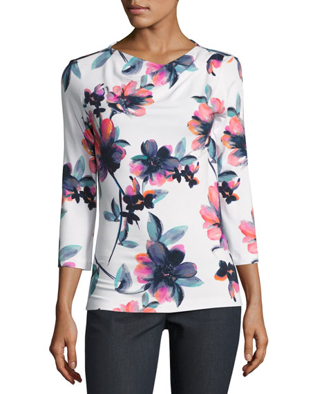 St. John Collection Naveena Floral Print Jersey 3/4-Sleeve