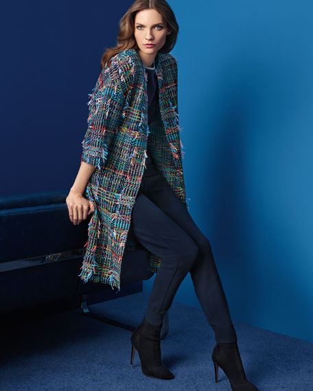 Dara Fringe Knit 3/4-Sleeve Topper Coat, Multi