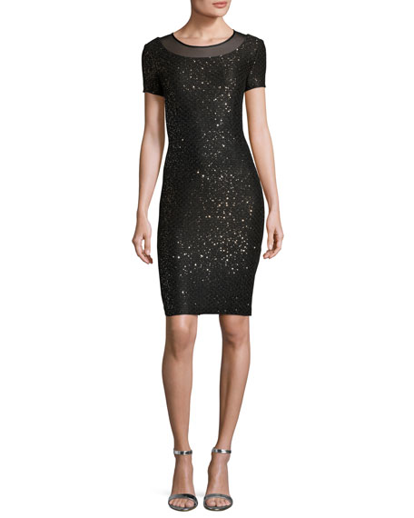 St. John Collection Pranay Sequined Degrade Knit Short-Sleeve