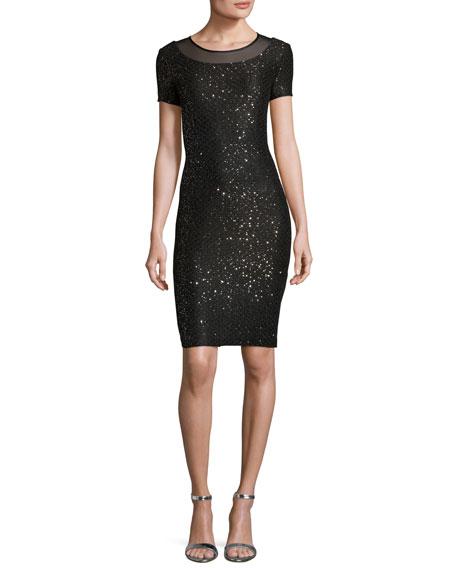 Pranay Sequined Degrade Knit Short-Sleeve Dress, Black