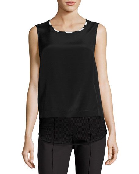 St. John Collection Mesh-Hem Scoop-Neck Shell, Black