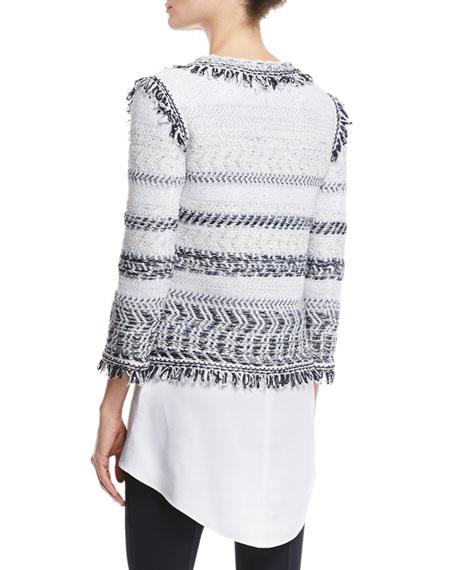 Tajdar Tweed Knit 3/4-Sleeve Jacket, White/Multi