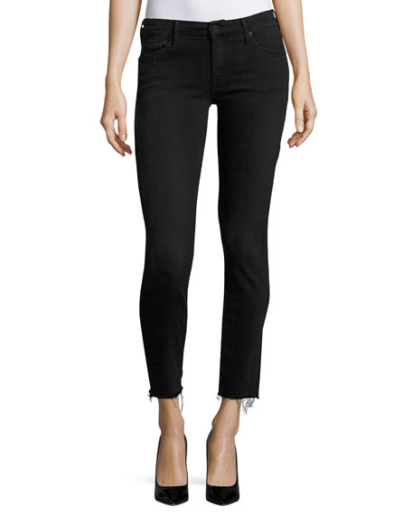 MOTHER Looker Ankle Skinny Jeans with Frayed Hem,
