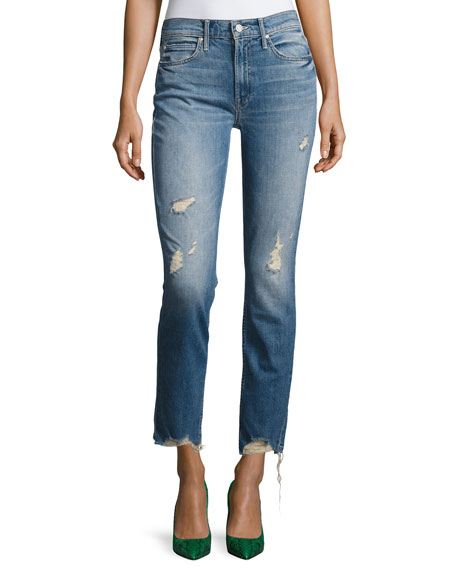 Mother Denim Flirt Fray Slim Jeans, Cold Feet