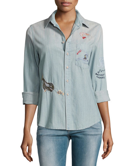 Mother Denim Foxy Boxy Buried Treasure Embroidered Shirt,