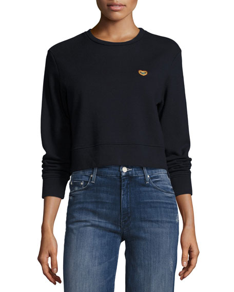 Mother Denim Open Your Heart Sweatshirt, Navy