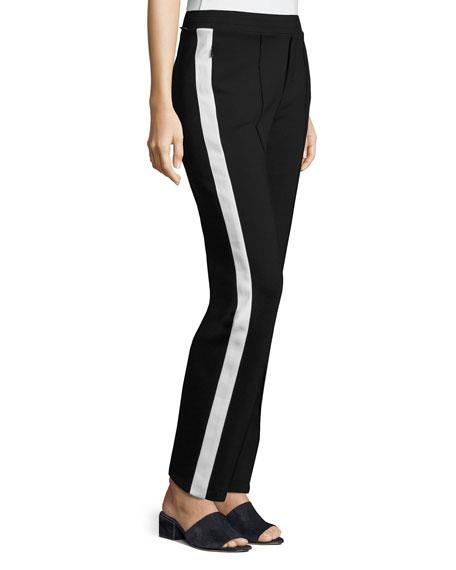 Stretch Jersey Side-Stripe Pants, Black