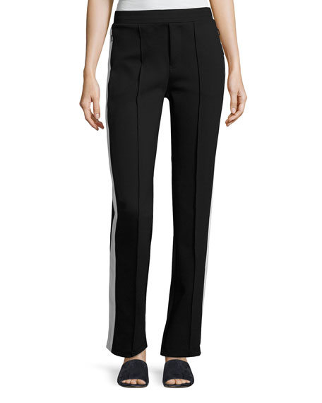 Stretch Jersey Side-Stripe Pants, Black