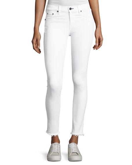 Mid-Rise Skinny-Leg Frayed Hem Jeans, White