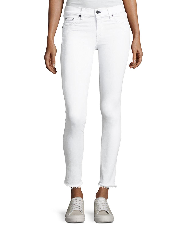 f14dc6c3fe9 rag   bone JEAN Mid-Rise Skinny Frayed Hem Jeans