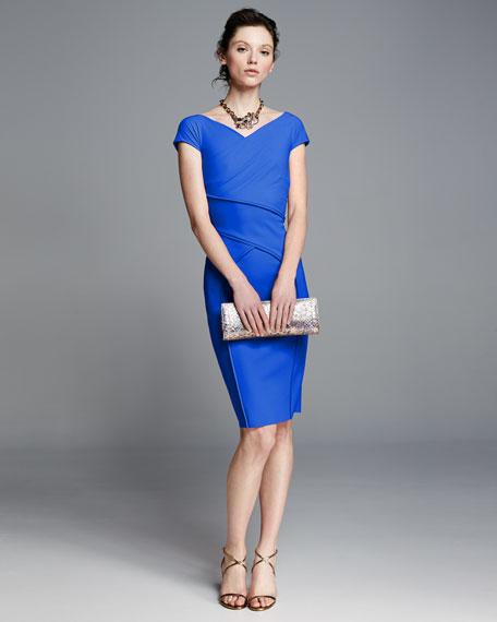 Merissa Cap-Sleeve Sheath Dress, Blue