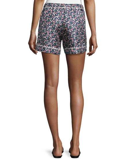 Floral Silk Satin Bermuda Shorts, Navy